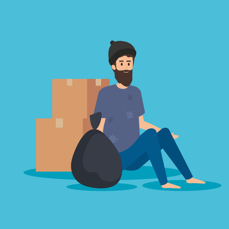 man indigent with boxes and trash bag vector illustration