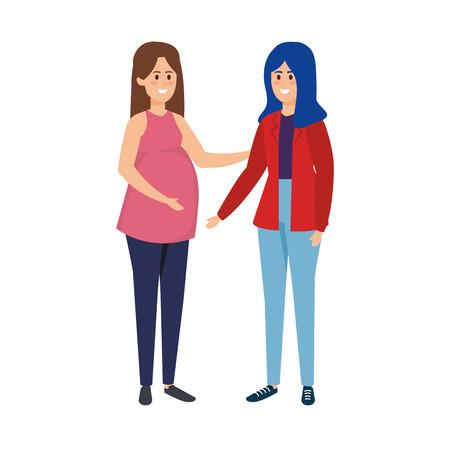 jonge zwangerschapsvrouw en vriend vectorillustratieontwerp
