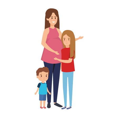 young pregnancy woman with kids vector illustration design