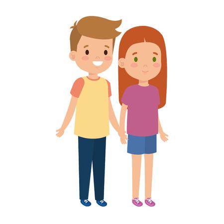 petits enfants, couple, caractères, vecteur, illustration, conception