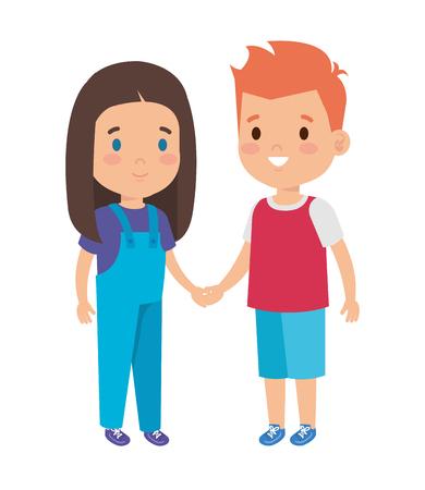 little kids couple characters vector illustration design Foto de archivo - 121277797