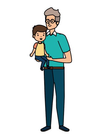 young father with son characters vector illustration design Illusztráció
