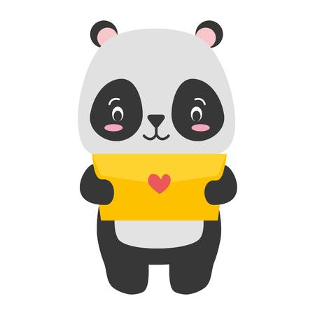cute panda cartoon mail love vector illustration Standard-Bild - 121259088