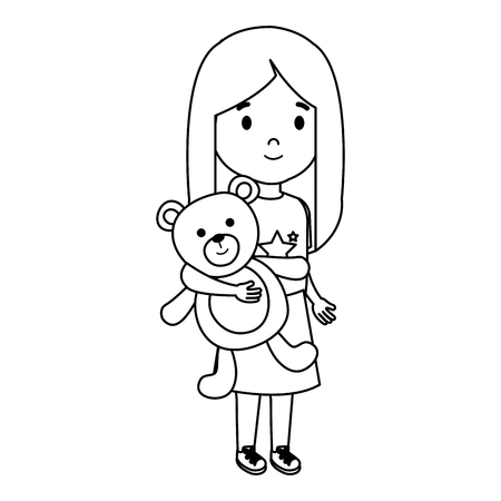 little girl with bear teddy character vector illustration design