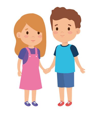little kids couple characters vector illustration design 일러스트