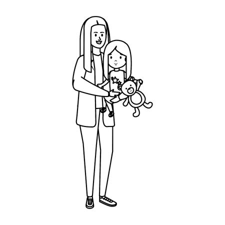 young mother with little daughter vector illustration design Standard-Bild - 123138952