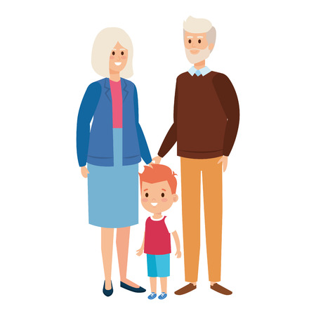 cute grand parents couple with grandson vector illustration design 向量圖像