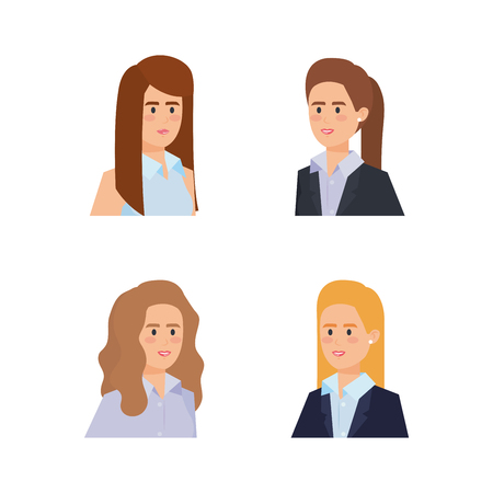 set professionalbusinesswoman with blouse and hairstyle vector illustration