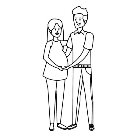 young pregnancy woman and man vector illustration design