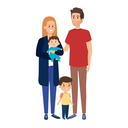 young parents couple with son and baby vector illustration design