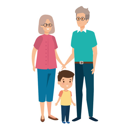 cute grand parents couple with grandson vector illustration design Ilustração
