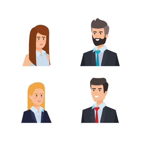set professional businesspeople elegant executive with hairstyle vector illustration