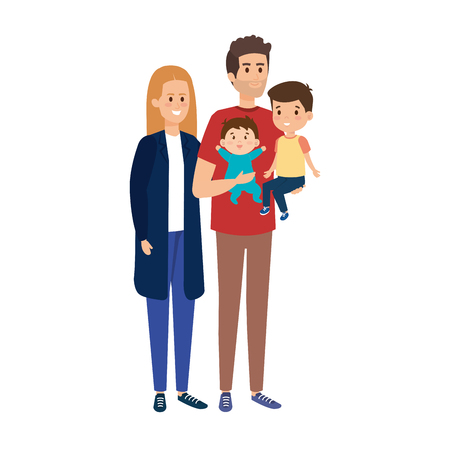 young parents couple with son and baby vector illustration design Ilustração