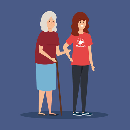girl volunteer with old woman to donation vector illustration