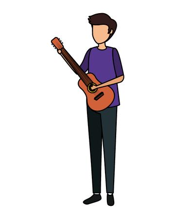 man playing guitar character vector illustration design  イラスト・ベクター素材