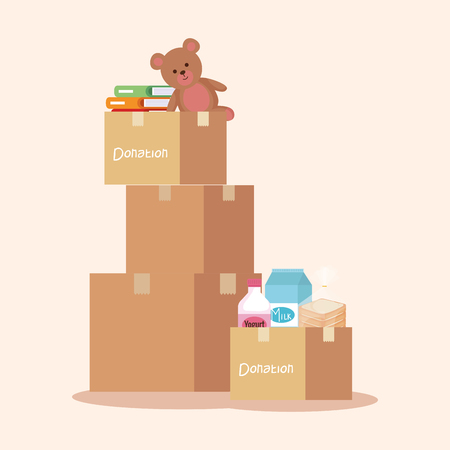 boxes donation with books and teddy with food vector illustration Ilustração