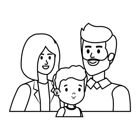 parents couple with son characters vector illustration design Stock Vector - 121265046