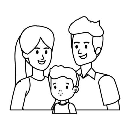 parents couple with son characters vector illustration design Stock Vector - 121265058