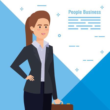 executive elegant businesswoman with professional briefcase vector illustration Illustration