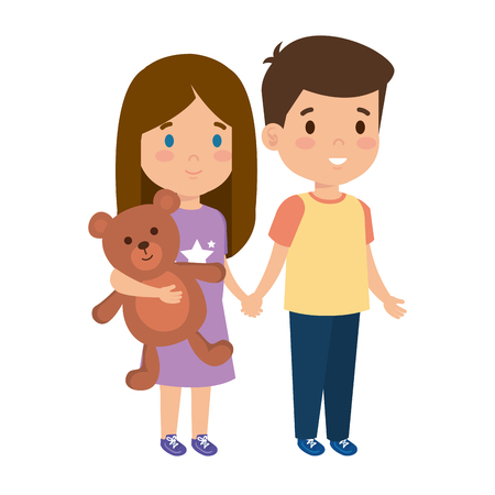 little kids couple with bear teddy characters vector illustration design Vectores
