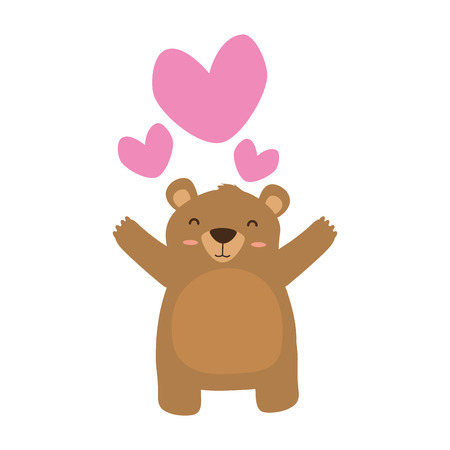 cute bear love hearts adorable vector illustration