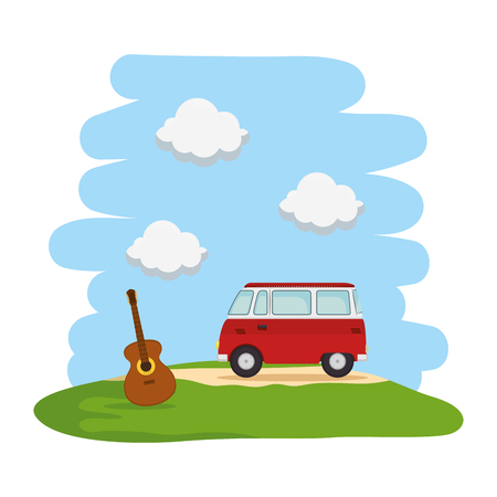 landscape with hippy van and guitar vector illustration design  イラスト・ベクター素材