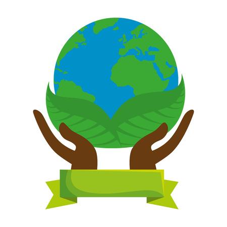 hands lifting world planet earth vector illustration design