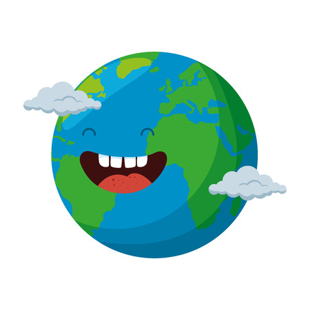 world planet earth with clouds character vector illustration design