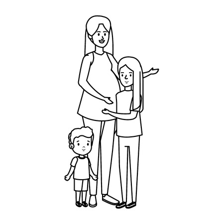 young mother with son and daughter vector illustration design Illustration