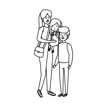 young mother with son and daughter vector illustration design Illusztráció