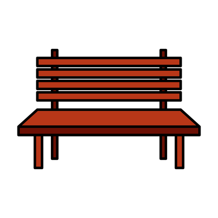 park bench furniture on white background vector illustration design