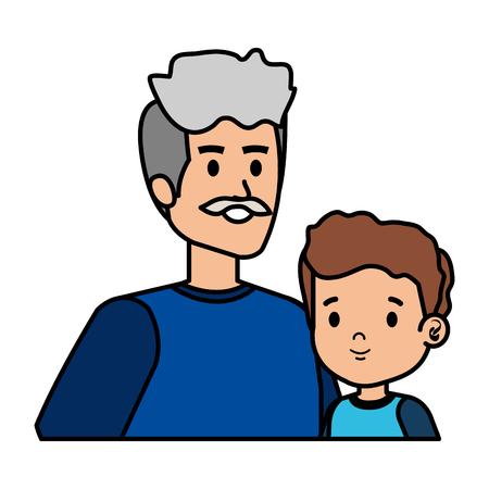 cute grandfather with grandson vector illustration design