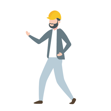 contractor man worker with helmet character vector illustration