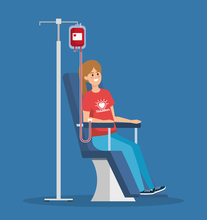 girl volunteer with blood donation to help vector illustration