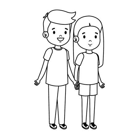 little kids couple characters vector illustration design Vectores