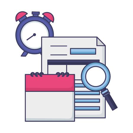calendar form clock magnifier tax payment  vector illustration