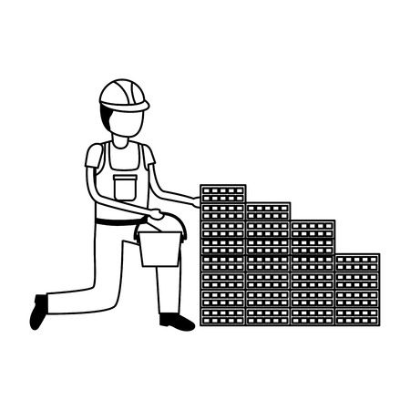worker bucket wall bricks tool construction vector illustration