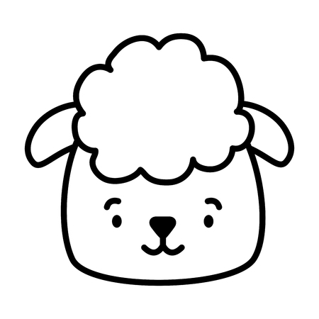 cute sheep face cartoon vector illustration design Çizim