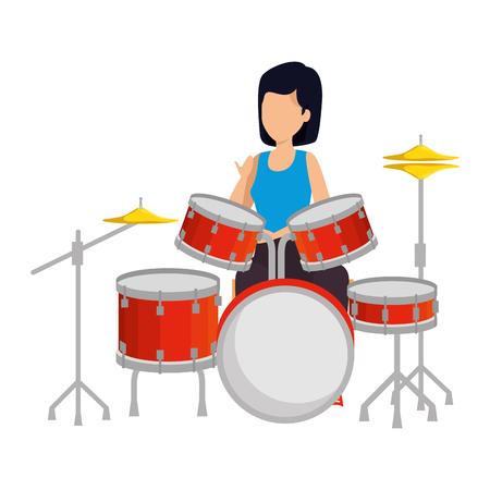 donna che suona la batteria della batteria illustrazione vettoriale design Vettoriali