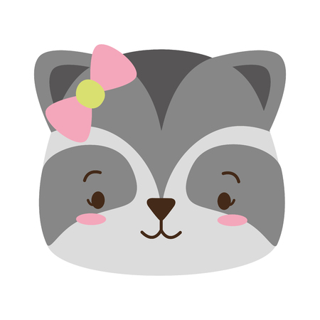 cute raccoon face cartoon vector illustration design 向量圖像
