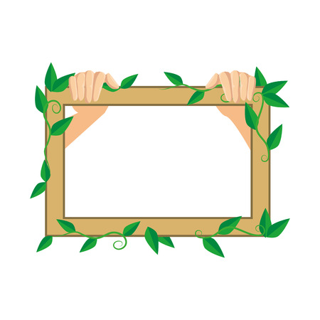 wooden frame with ecology leafs plants vector illustration design