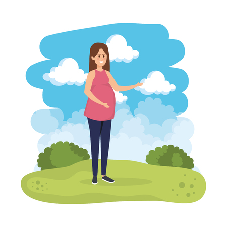 young pregnancy woman in the landscape vector illustration design