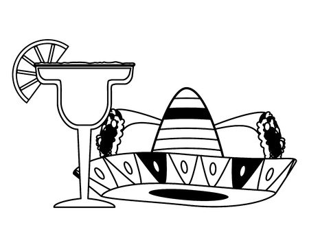 mexican hat traditional burritos and cocktail vector illustration