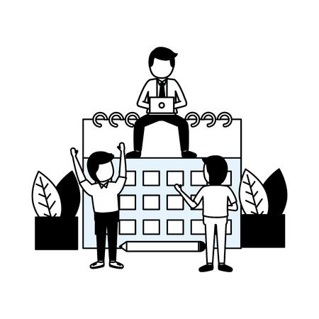 business people calendar work time vector illustration Illustration