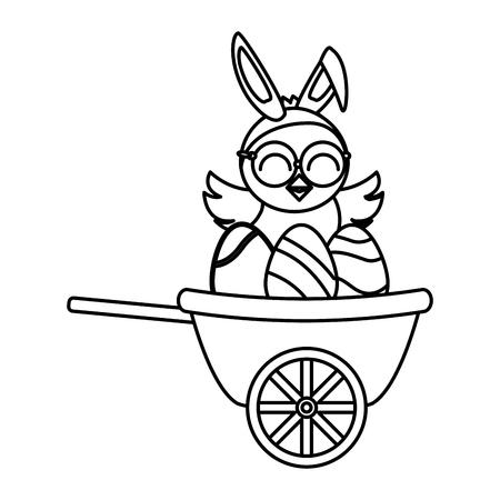 cute little chick with eggs painted in wheelbarrow vector illustration design Standard-Bild - 123139288