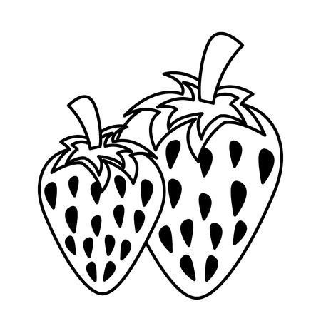 strawberries fresh fruit on white background vector illustration Иллюстрация