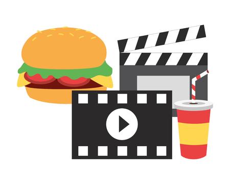 cinema burger soda clapboard fast food vector illustration design Banque d'images - 123139307