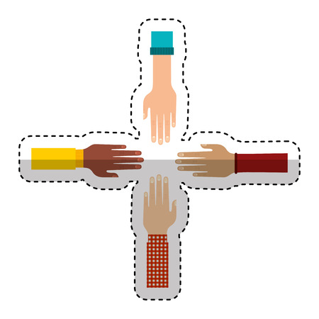 hands human teamwork symbol vector illustration design