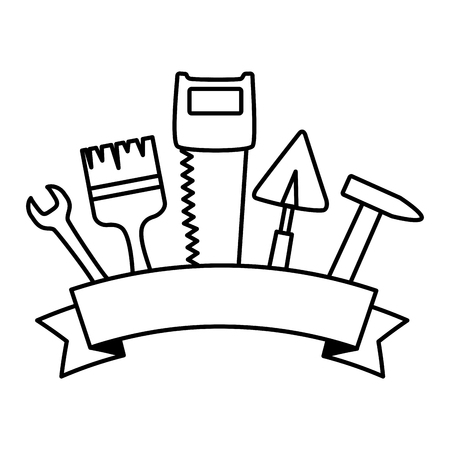 brush wrench adjustable spanner labour day vector illustration