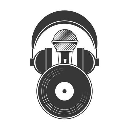 Ilustración de vector de música de audio de vinilo de micrófono y auriculares Ilustración de vector